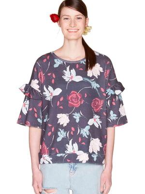 Блуза темно-синяя с цветочным принтом | 5477301