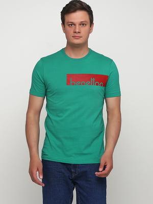 Футболка зеленая с принтом | 5477316