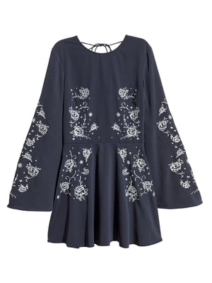 Платье темно-синее с вышивкой | 5477388
