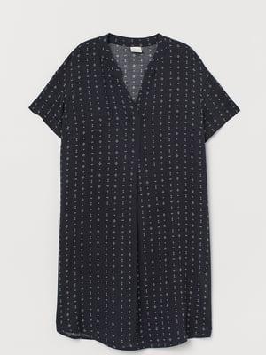 Платье темно-синее с принтом | 5477428