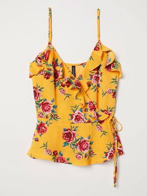 Топ желтый с цветочным принтом | 5477534
