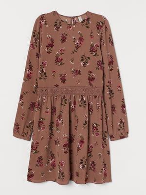 Платье коричневое с цветочным принтом | 5477825