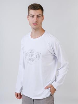 Лонгслів білий в принт | 5464654