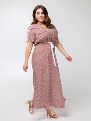 Платье цвета кофе в полоску - Luzana - 5478126