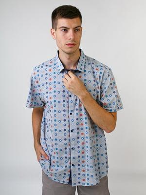 Рубашка серая в принт | 5474626