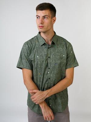 Рубашка оливкового цвета в принт | 5474628