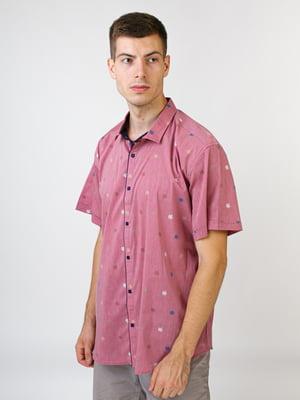 Рубашка фрезового цвета в принт | 5474634