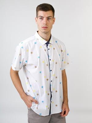 Рубашка молочного цвета в принт | 5474635