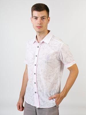 Сорочка бузкового кольору в принт | 5474717
