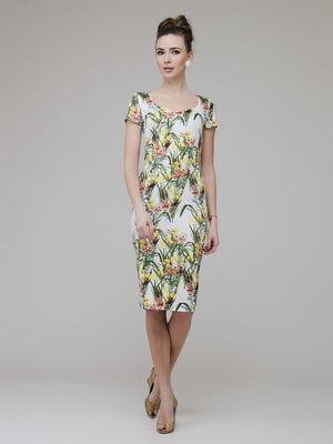 Платье белое в цветочный принт | 5473392