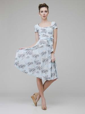 Сукня блакитного кольору в квітковий принт | 5473415