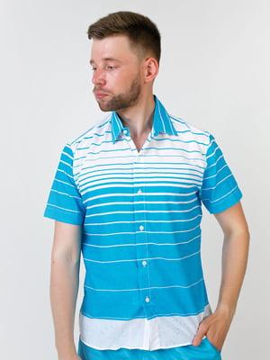 Рубашка двухцветная в полоску   5474673
