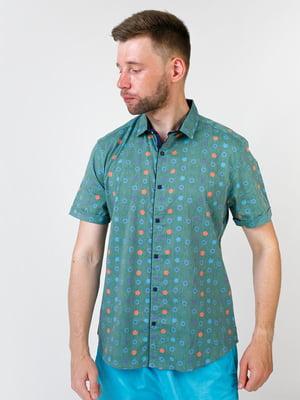 Сорочка оливкового кольору в принт | 5474632