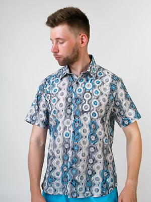 Сорочка бірюзового кольору в принт   5474702