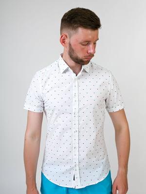 Рубашка белая в принт | 5474621