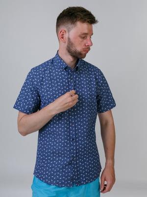 Сорочка синя в принт | 5464670