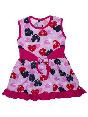 Платье розовое с принтом | 5479143