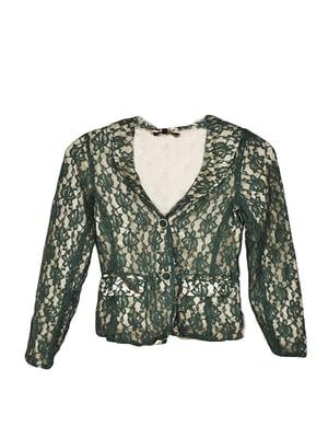 Жакет золотисто-зеленого кольору з візерунком | 5480050