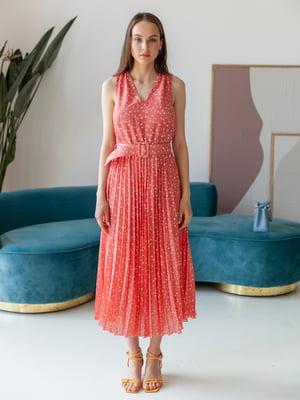 Платье кораллового цвета в принт | 5482986