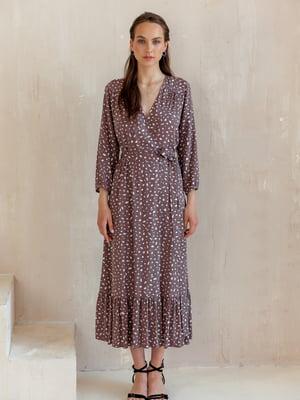 Сукня сливового кольору в принт | 5483001