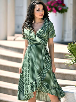 Сукня кольору хакі в горох | 5483266