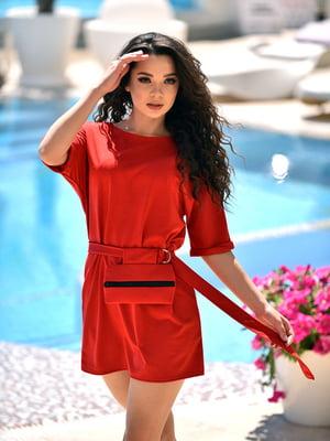 Сукня червона з поясною сумкою | 5483270