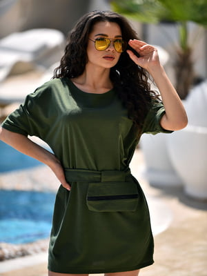 Сукня кольору хакі з поясною сумкою | 5483271