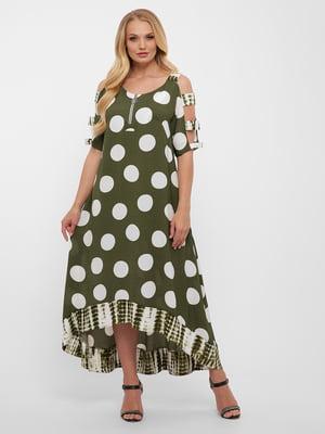 Сукня кольору хакі у білий горох | 5483514