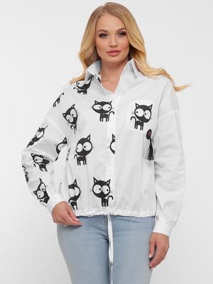 Сорочка біла у принт   5483526