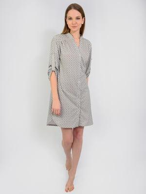 Платье серое в абстрактный принт | 5483814