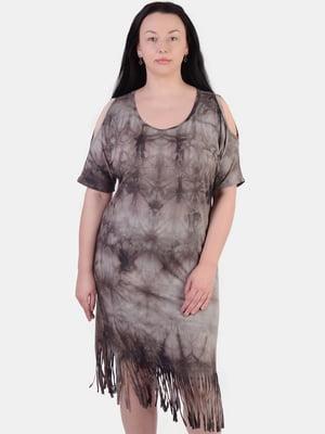 Сукня коричнева в розмитий принт | 5483831