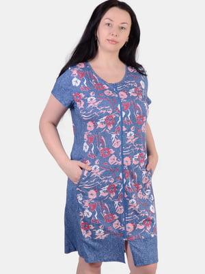 Халат синій в квітковий принт | 5483835