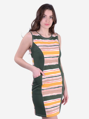 Платье цвета хаки в полоску | 5483851