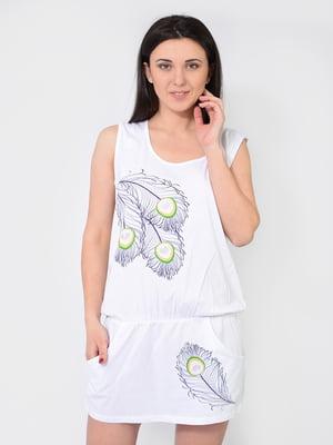 Платье белое в принт | 5483878