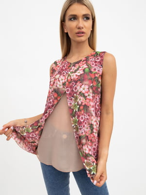Блуза розово-бежевая в цветочный принт   5484275