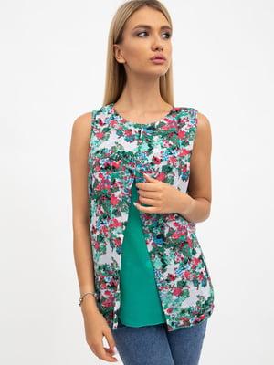 Блуза зеленая в цветочный принт | 5484276