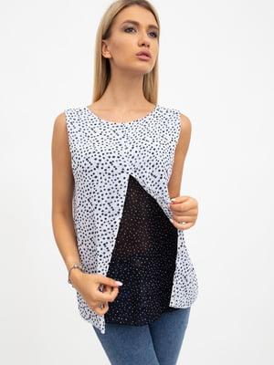 Блуза черно-белая в принт | 5484277