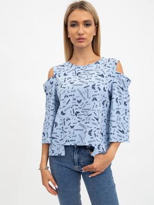 Блуза голубая в принт | 5484314