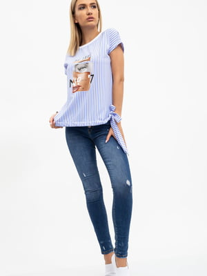Блуза бело-голубая в полоску и принт | 5484318