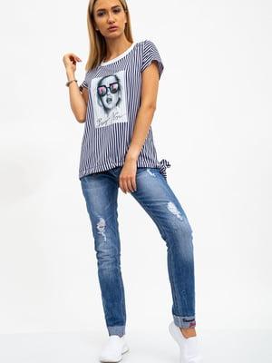Блуза сине-белая в полоску и принт   5484319