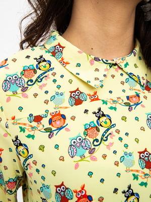 Блуза желтая в принт   5484330