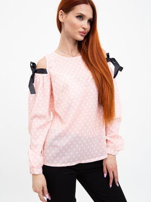 Блуза персикового цвета в горох | 5484334