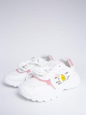 Кросівки біло-рожеві в принт | 5484411