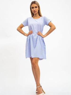 Платье бело-голубое в полоску | 5484475