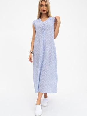 Платье бело-голубое в узор | 5484490