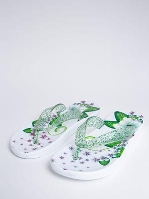 Сланці біло-зелені в квітковий принт | 5484543