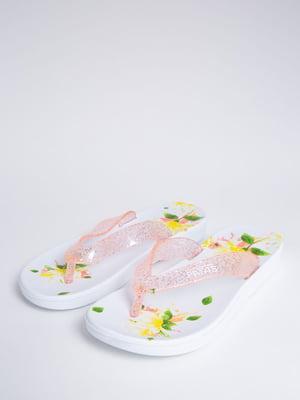 Сланці біло-рожеві в квітковий принт | 5484544