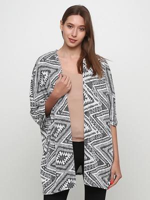 Кардиган біло-чорний з візерунком | 5485050