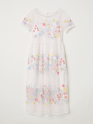 Сукня кремового кольору з вишивкою   5485144