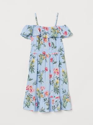 Сукня блакитна в квітковий принт   5485209